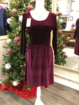 Wine Velvet Long Sleeve Gathered Waist Dress