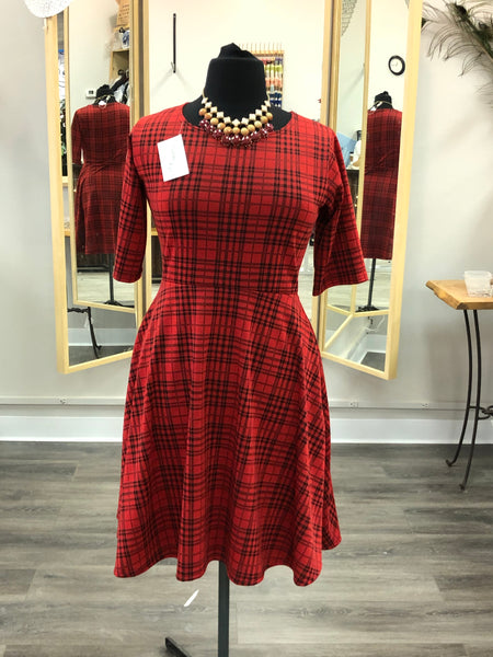 Red and Black Plaid Fit n Flare Dress