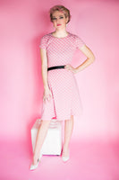 Pink and Ivory Polka Dot Fit and Flare Dress
