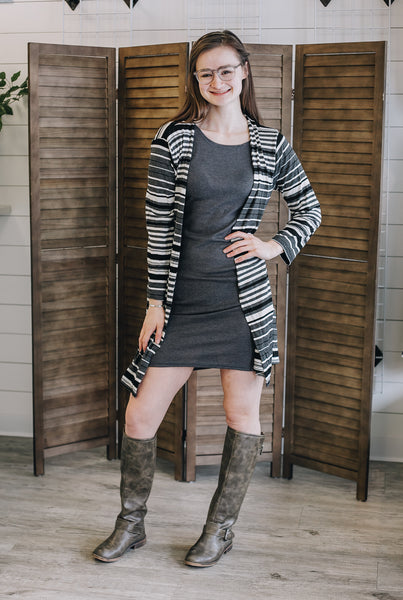 Black, White, and Gray Striped Rib Knit Duster