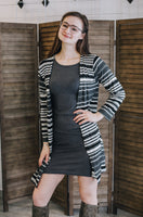Gray 3/4 Sleeve Rib Knit Sheath Dress