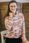 Pink Camo Cowl Neck Top
