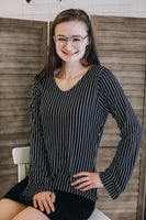 Black and White Pinstripe Long Sleeve Shirt