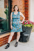 Denim Blue Floral Tank Dress