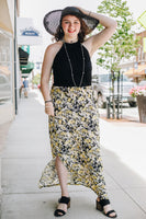 Black and Yellow Long Halter Dress