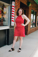 Red Diagonal Stripe Halter Dress