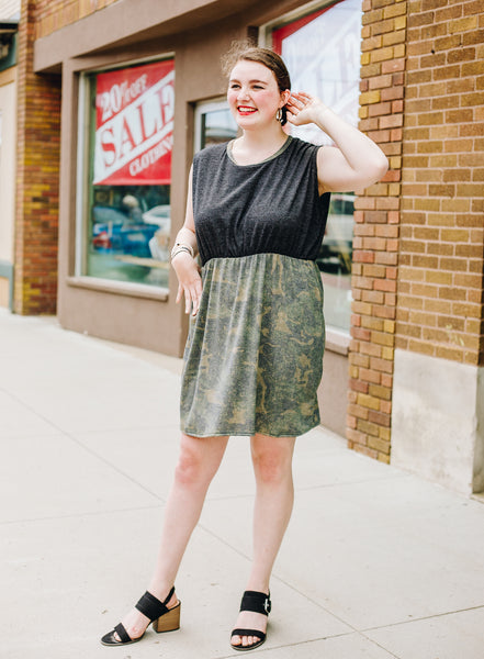 Empire Waist Black Top Camo Dress