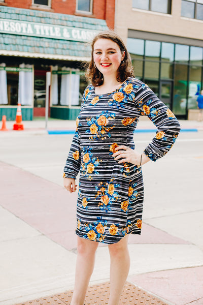 Striped Floral Sheath Dress