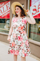 Peach and Taupe Floral Fit n Flare Dress
