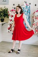 Red Fit n Flare Tank Dress