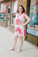 Pink and Ivory Tie-Dye T-Shirt Dress
