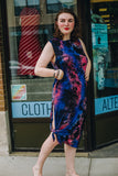 Black, Red, and Blue Tie-Dye Midi Dress