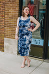 Navy Tie-Dye Midi Tank Dress