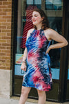 Blue and Red Tie-Dye Halter Dress