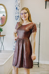 Burgundy/Black/Silver Gathered Waist Dress
