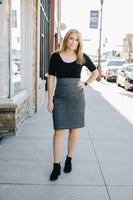 Denim Look Stretch Pencil Skirt