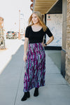 Purple and Gray Geometric Maxi Skirt
