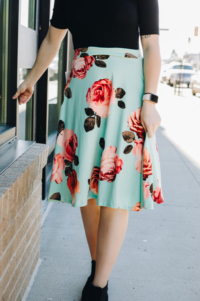 Teal Floral Full Cut Skirt