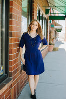 Navy Modal Knit Sheath Dress