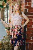 Navy Floral with Lace Top Fit n Flare Dress