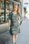 Distressed Camo Gathered Waist Dress