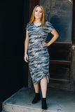 Gray Camo Midi Sheath Dress