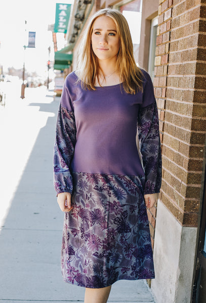 Purple and Gray Dropped Waist Sweatshirt Midi Dress
