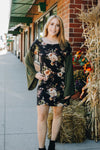 Black Floral Dress with Flare Sleeves