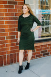 Olive Green Cowl Neck Sheath Dress