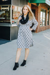 Gray and Black Polka Dot Empire Waist Dress