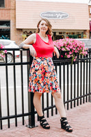 Bright Pink and Floral Fit n Flare Dress