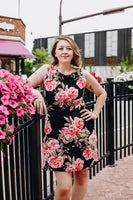 Black with Pink and Taupe Floral Tank Dress