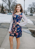 Navy and Coral Lace Sleeve Tunic Dress