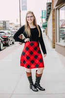 Buffalo Plaid with Black Top Dress