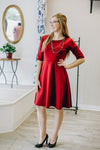 Burgundy Fit n Flare Dress