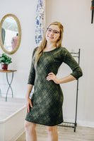 Green Plaid Sheath Dress