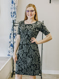Gray and Black Floral Gathered Waist Dress