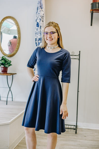 Fit n Flare Navy Dress