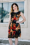 Black with Rich Floral Print Fit and Flare Dress