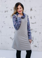 Gray with Purple Burnout Sleeve Sweatshirt Sheath Dress