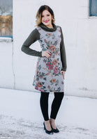 Gray Floral Sweatshirt Sheath Dress with Olive Sleeves and Cowl