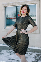 Antique Gold and Black Fit-n-Flare Lace Dress