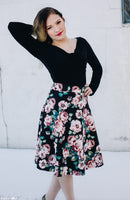 Black with Mauve Pink Floral Skirt