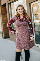 Burgundy Cowl Neck Sweater Dress