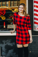 Navy and Red Buffalo Plaid Shirt Dress