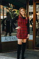 Buffalo Plaid Sweatshirt Dress with Black Sleeves & Cowl