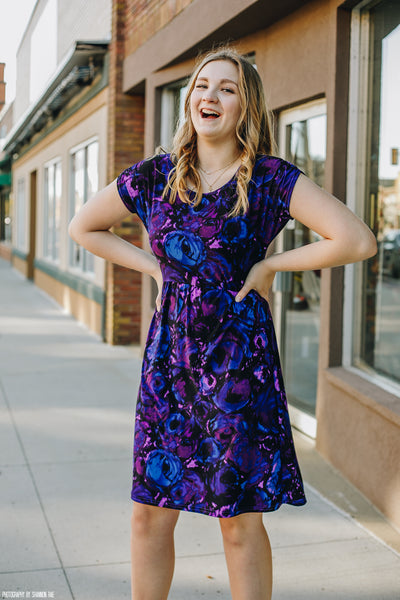 Purple and Navy Gathered Waist Dress
