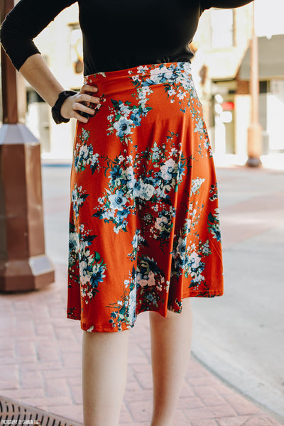 Tan Rust Floral Swishy Skirt
