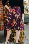 Plum Polka Dot Floral Swishy Skirt
