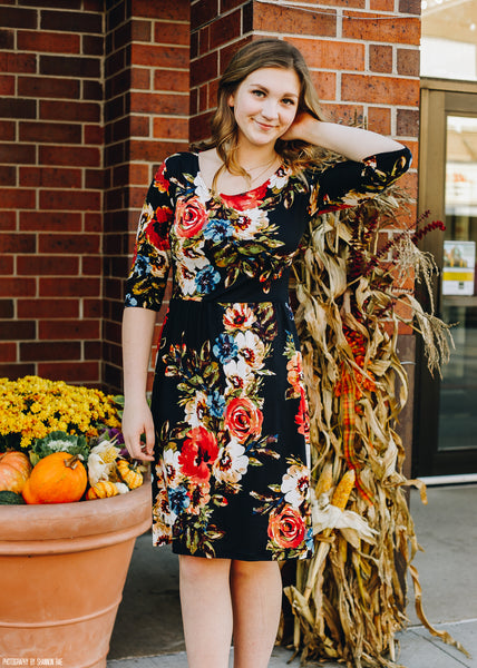 Black with Floral Gathered Waist Dress